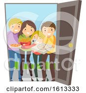 Stickman Teens Food Surprise Visit Illustration
