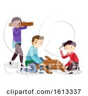 Poster, Art Print Of Teens Boys Woodworking Table Illustration