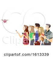 Teens Group Drone Selfie Illustration