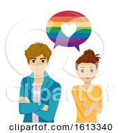 Teens Speech Bubble Rainbow Heart Illustration