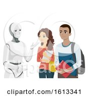 Teens Students Robot Illustration