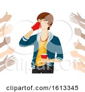 Teen Boy Drink Dare Hand Cheer Illustration