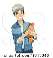 Poster, Art Print Of Teen Boy Farm Chicken Hen Illustration