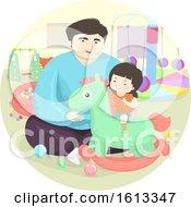 Poster, Art Print Of Dad Kid Girl Indoor Horse Rocker Illustration