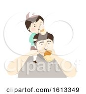 Kid Boy Father Burger Illustration