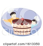 Kid Boy Father Cake Illustration