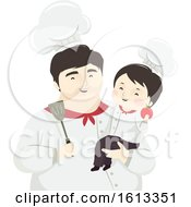 Kid Boy Father Chef Illustration