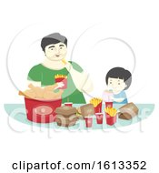 Kid Boy Father Fast Food Dinner Illustration