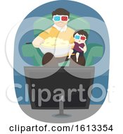 Kid Boy Father Popcorn Movies Illustration