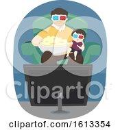 Poster, Art Print Of Kid Boy Father Popcorn Movies Illustration