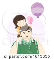 Kid Girl Father Cotton Candy Balloon Illustration by BNP Design Studio