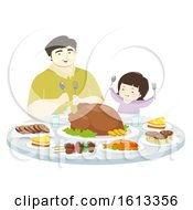 Kid Girl Father Eat Foods Desserts Illustration