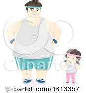 Kid Girl Father Exercise Outfit Illustration