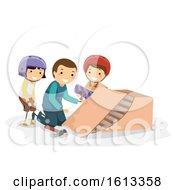 Stickman Dad Kids Skateboard Ramp Illustration