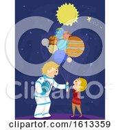 Poster, Art Print Of Stickman Kid Boy Dad Balloon Planets Illustration