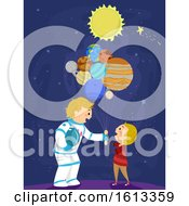 Stickman Kid Boy Dad Balloon Planets Illustration