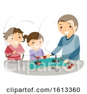 Kids Father Repair Skateboard Illustration