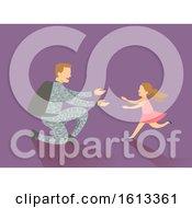 Poster, Art Print Of Dad Kid Girl Man Soldier Return Home Illustration