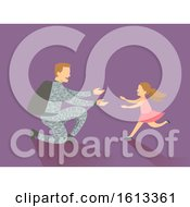 Dad Kid Girl Man Soldier Return Home Illustration