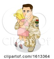 Kid Girl Cry Dad Soldier Illustration