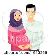 Poster, Art Print Of Couple Muslim Pregnant Illustration