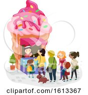 Poster, Art Print Of Stickman Ice Cream Shop Line Illustration