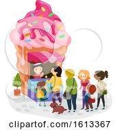 Stickman Ice Cream Shop Line Illustration