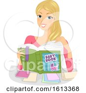 Girl Mom Baby Book Notes Illustration