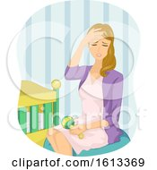 Poster, Art Print Of Girl Mom Baby Stress Illustration