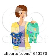 Girl Mom Choose Baby Clothes Illustration