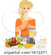 Girl Mom Make Baby Food Illustration