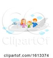 Stickman Family Travel Plane Illustration
