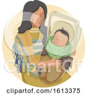 Poster, Art Print Of Girl American Indian Papoose Baby Illustration