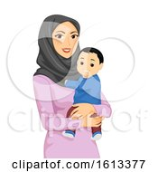 Poster, Art Print Of Girl Mom Muslim Baby Illustration