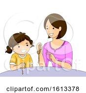 Girl Mom Teaching Kid Girl Pray Rosary