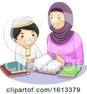 Girl Mom Kid Boy Muslim Study Illustration