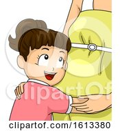 Poster, Art Print Of Kid Girl Accept Sibling Hug Mom Pregnant