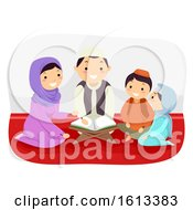 Stickman Family Study Quran Illustration