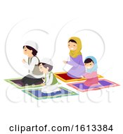 Stickman Family Muslim Pray Illustration