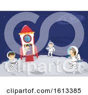Stickman Family Outer Space Trip Illustration