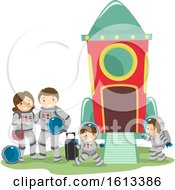 Stickman Family Space Travel Illustration