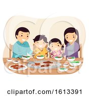 Stickman Family Barbecue Restaurant Illustration
