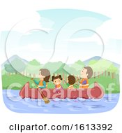Stickman Family Canoe Illustration