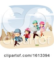 Stickman Family Desert Adventure Illustration