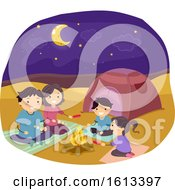 Stickman Family Desert Camping Illustration