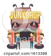 Stickman Family Junk Shop Business Illustration