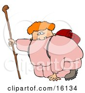 Out Of Shape Chubby Woman In Pink Sweats Carrying A Backpack And Kneeling While Holding Onto Her Hiking Stick To Catch Her Breath While Hiking