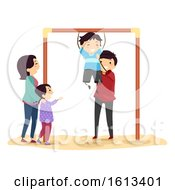 Stickman Family Kids Horizontal Bar Illustration by BNP Design Studio