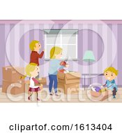 Stickman Family Moving In Illustration