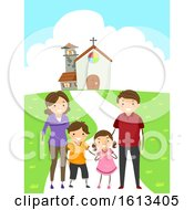 Stickman Family Attend Church Illustration